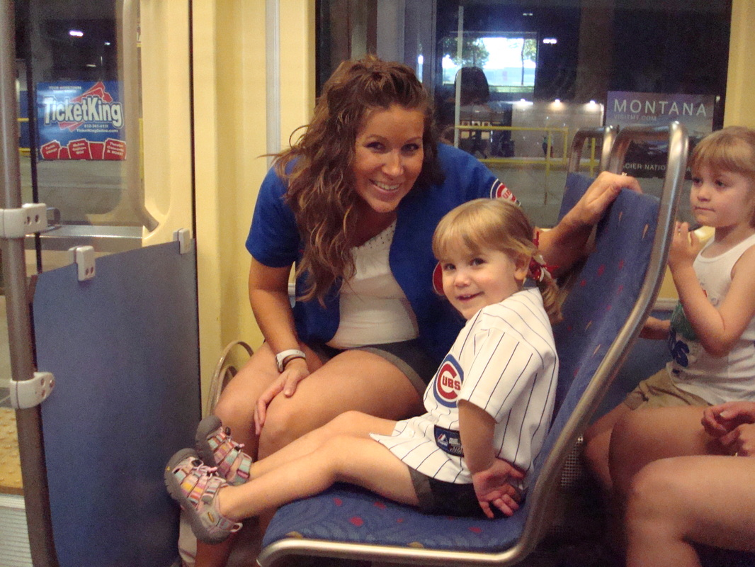 Mrs. Hillman and Halle on their way to Halle's 1st Cubs game!